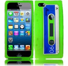 For iPhone 5 5S SE Rubber SILICONE Soft Gel Skin Case Phone Cover Green Cassette