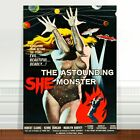 "Vintage Sci-fi Movie Poster Art ~ CANVAS PRINT 16x12"" Astounding She Monster"