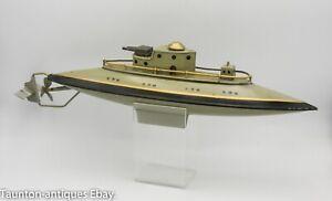 German wind up clockwork toy submarine boat gun Fleischmann or Marklin? C.1920's
