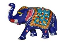 Wooden Single Elephant Painted Figurine handmade statue Carved Sculpture