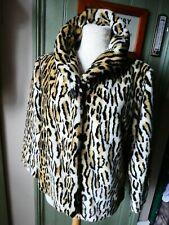 Topshop faux fur Leopard Print Coat size 14 excellent condition, 50's Glamour!