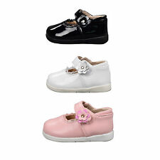 Baby Girls Patent Leather Shoes Formal Style sz 0-20M White-Black-Pink 6201
