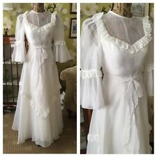 Vintage 70's White Pretty Classic Bohemian Ruffle Trim Belted Wedding Dress 6