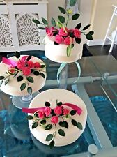 WEDDING CAKE SUGAR ROSES IN BUBBLEGUM  PINK SET OF THREE ,ALSO MOST COLOURS  Ca