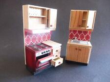 Lundby rot Holz Küche Herd + Spüle Puppenstube Puppenhaus 1:18 Dollhouse