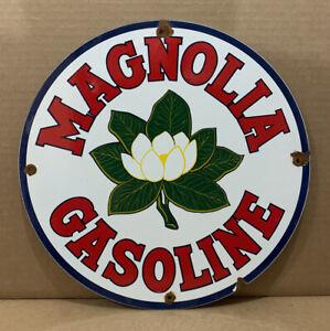 Vintage Porcelain Magnolia Gasoline Pump Plate Sign Oil Gas Wall Decor Garage