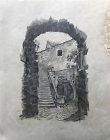 Drawing 1928 Old Archway with View from Courtyard Cobblestones