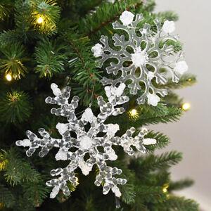 12Pcs Acrylic Crystal Snowflake Christmas Tree Hanging Pendant Decor Ornaments