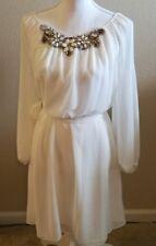 Chelsea & Violet whimsical white dress cold shoulder bling boho  M WD37