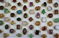 LOT DE 30pcs naturel stein mix bague Pierre Multicolore plaqué or Rings