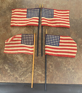 lot of 4 - 48 Star American Flags Small Mini Handheld on Stick Vintage USA