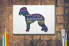 More details for bedlington terrier word art canvas a4a3a2a1 mothers day gift personalised option
