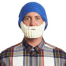 Beardo Blue Hat with White Beard,, Beanie Bearded Hat Warm Winter Cap