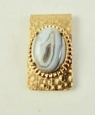 Plated Beaded Satin Sharp Looking! Natural Botswana Agate Money Clip Gold