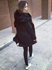 ZARA Black Oversized Fur Hood Parka Coat with Detachable Removable Lining M BNWT