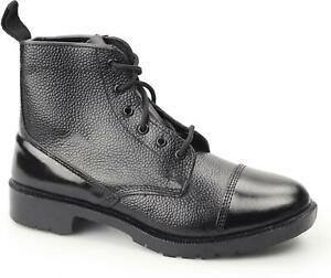 Grafters M166A Unisex Womens Mens Non Safety Leather Lace Workwear Boots Black