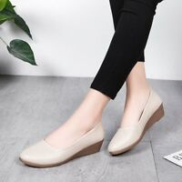 Women Solid Pumps Loafers Casual Wedge Heel Ballet Slip On Flats Boat Shoes New