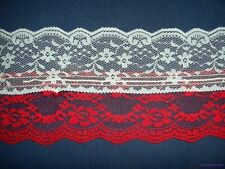 """New Red & White 4"""" Wide Self Ruffling Rosettes Polyester Lace Sewing Trim Per Yd"""