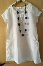 M&S LAGENLOOK ARTY QUIRKY BOHO WHITE LINEN SHORT SLEEVE TUNIC TOP /DRESS SIZE 18