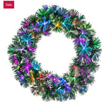 "Color Changing Fiber Optic 24"" Lighted PVC Wreath"