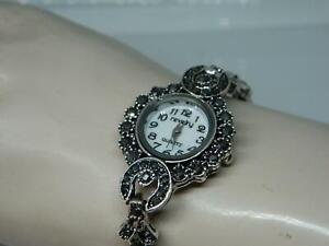 Vintage style Women's Imitation Marcasite Set Bracelet Watch,by Revelry,Box