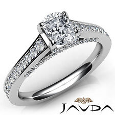 Stunning Cushion Cut Diamond Pave Set Engagement Ring GIA E VVS2 Platinum 1.46Ct