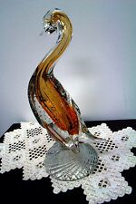 "Italian Murano Art glass Bubble Controled Yellow/Gold Long Necked goose 12""tall"
