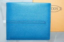 Tod's Men's Wallet Credit Card Case Blue Bi-Fold CC Money Holder Leather NWT