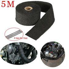 5M Car Motorcycle Black Fiberglass Exhaust Header Pipe Heat Wrap Tape + 4 Ties