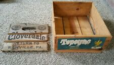 Vintage Wood Tepoyac Tomatoes Mexico Crate & Cloverdale Soda Side Box  (a61)