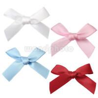 100X Assorted Mini Satin Ribbon Bows Tied Craft Embellishment Wedding Decor