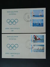 olympic games Seoul 1988 windsurf sailing x2 FDC Ivory Coast 74153