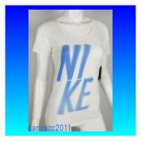 NIKE WOMEN'S DRI-FIT ATHLETIC CUT  SIZE XL WHITE/BLUE T-SHIRT TOP TEE