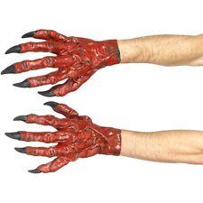Men Women's Satan Red Devil Scary Hands Halloween Fancy Dress Costume Gloves Fun
