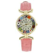 Leather Band - Pink Multicolor GlassOfVenice Murano Glass Millefiori Watch with