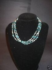 Blue and Silver Tone Beads Necklace