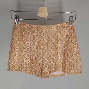 Love Culture Shorts Women's Small Metallic Gold Sparkle Lace Pink Hot Pants NWOT