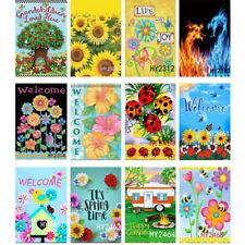 Paisaje de primavera flores Bienvenido Banderas De Jardín Al Aire Libre Césped Jardín Bandera de vacaciones