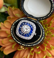 Art Deco French Cut Sapphire and Diamond Cluster Ring 18ct White Gold 1.10ct
