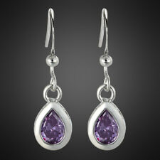 Fashion Jewelry Lady Pear Cut Purple Amethyst White Gold Plated Dangle Earrings