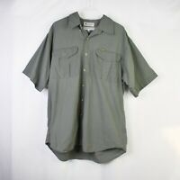 Columbia Shirt L Olive Button Down Short Sleeve Fishing Top Mens Size Large