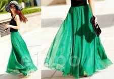 UK Women Beach Party Chiffon Pleated Long Maxi Skirt Dress Emerald Green