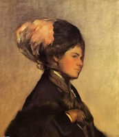 Oil painting joseph rodefer de camp - the pink feather young woman free shipping