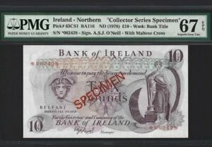 1978 NORTHERN IRELAND 10 POUNDS SPECIMEN PMG67 EPQ SUPERB GEM UNC <P-63CS1>