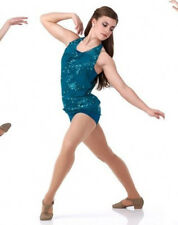 Child XL Contemporary Dance Costume Temptation Boy Short Unitard & Top TEAL