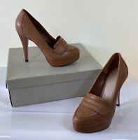 CARVELA at KURT GEIGER tan brown archer platform loafer court shoes 4 eu 37 £120