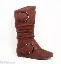 Girl's Kid's Cute Zipper Flat Heel  Mid Calf  Slouchy Boot Shoes 9 - 4, 7 Colors