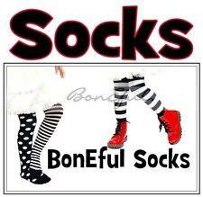 BonEful Boutique RTS NEW Cotton Knit GIRL KNEE SOCKS B&W Black White WIDE Stripe