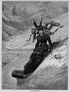 CUPID TOBOGGANING DOWN HILL WEARING SNOWSHOES CARRYING BOW AND ARROW TOBOGGAN