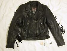 Vintage Flying Bikes Oakwood Women Black Leather Motorcycle Jacket Medium Fringe